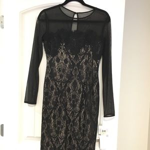 MAGGY LONDON sheer mesh/lace black dress